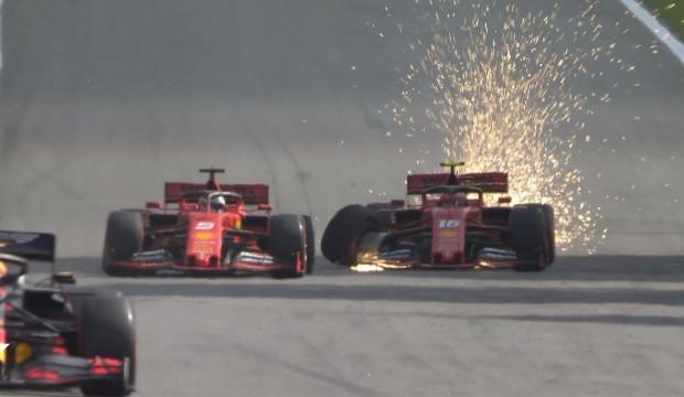Ferrariler birbirine çarptı, yarışı Verstappen kazandı!