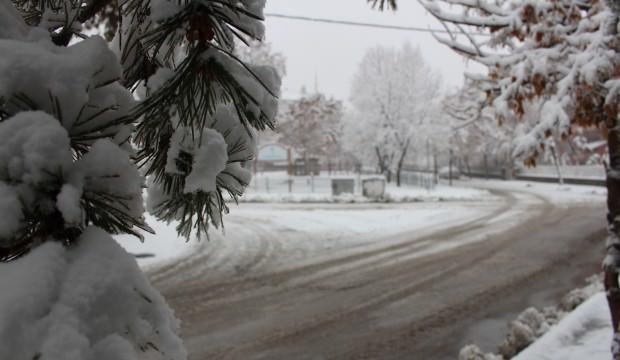 Erzurumlular güne kar ile uyandı