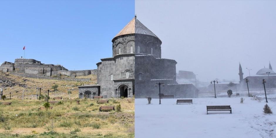 Kars'ın muhteşem kış ve yaz manzaraları aynı karede
