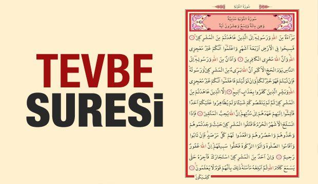 Tevbe Suresi okunuşu ve anlamı  | Tevbe Suresi Türkçe meali ve faziletleri