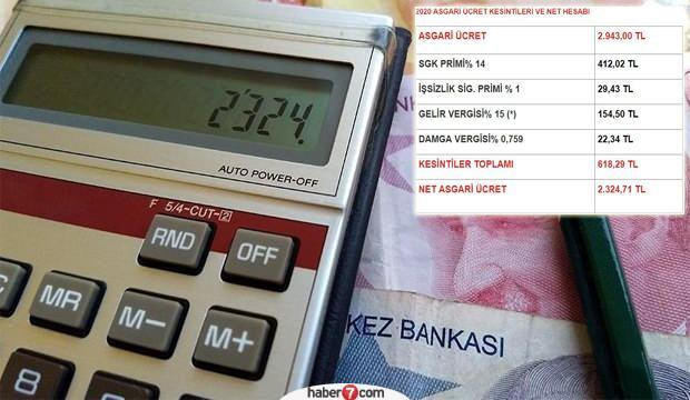 Asgari ücret vergi kesintisi tablosu! 2020 AGİ Asgari Ücret net ve brüt kaç TL?