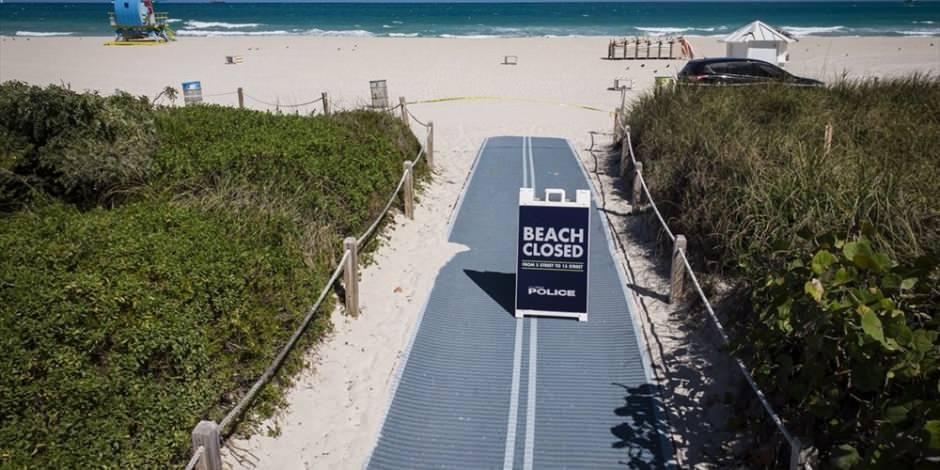 Miami'nin meşhur plajları corona virüs nedeniyle kapatıldı