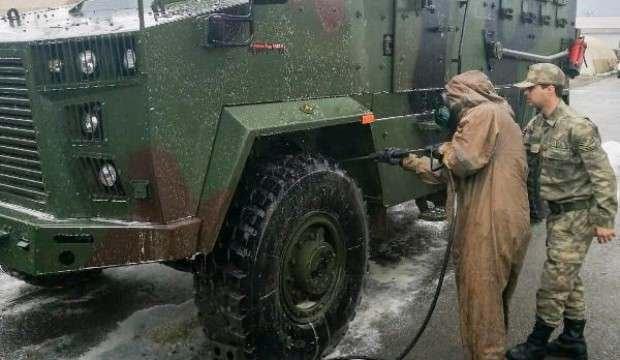 Askeri araç, teçhizat ve donanımlar dezenfekte edildi