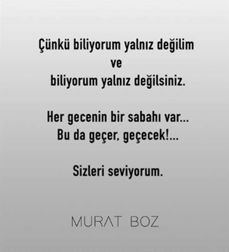 Murat Boz koronavirüs mesajı