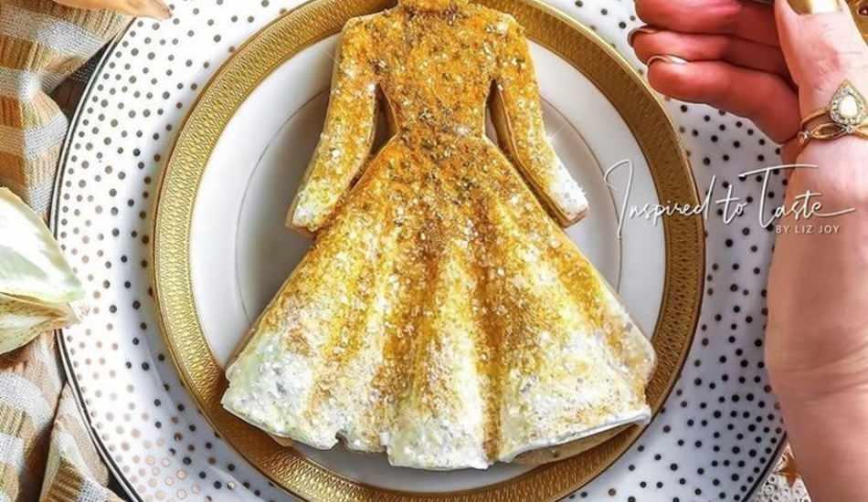 Sanat eseri gibi elbise şeklinde kurabiye yapımı
