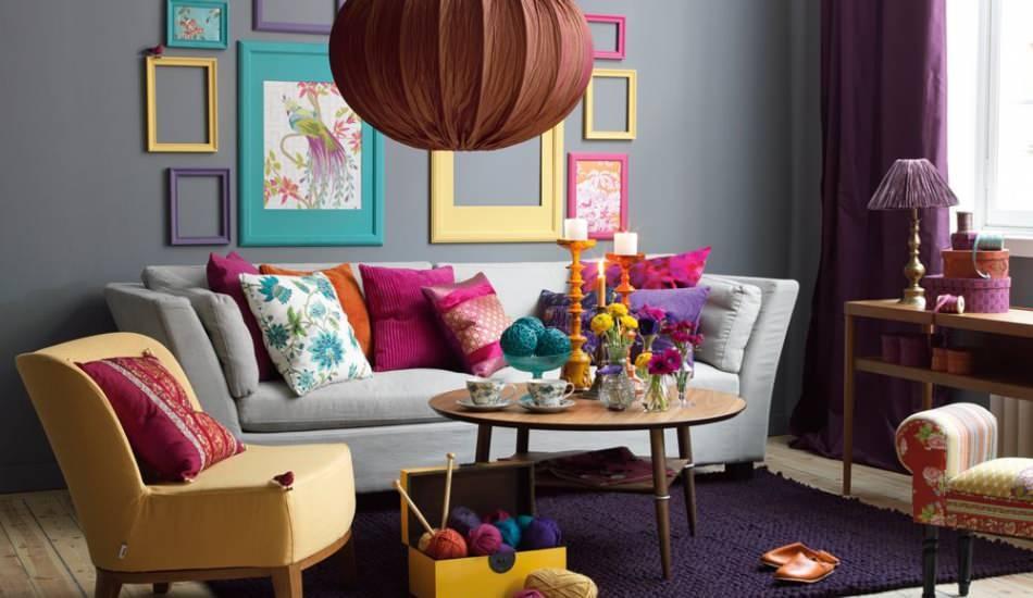 Mor renk ile modern ev dekorasyonu önerileri