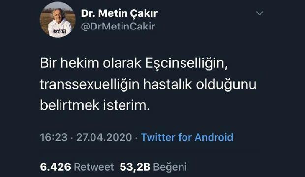 Almanya'daki Türk doktor, 'eşcinsellik' ile ilgili attığı tweet sonrası işinden kovuldu
