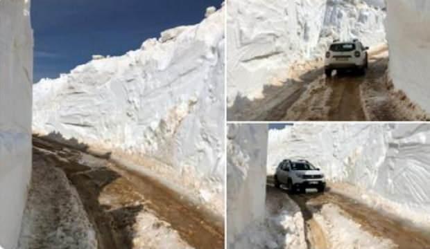Antalya'daki metrelerce karı gören şaşırdı
