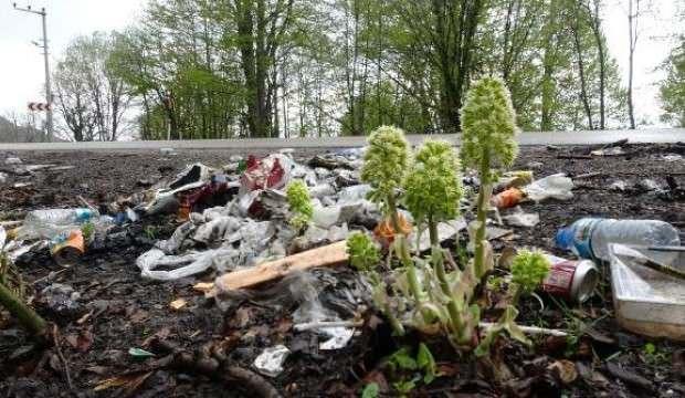 Piknikçilerin çöpleri karlar eriyince ortaya çıktı
