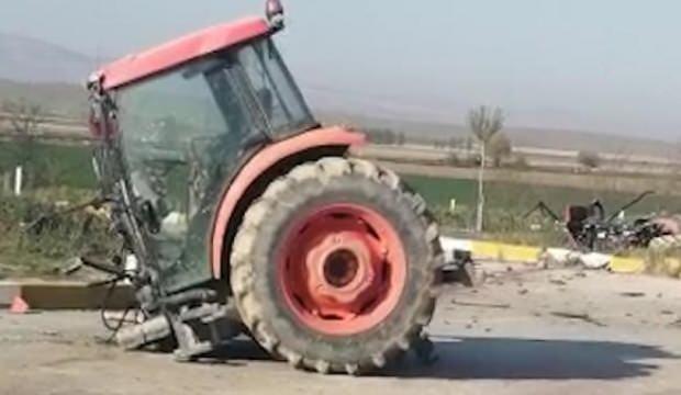 TIR'la çarpışan traktör, ikiye bölündü