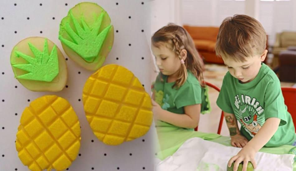 En kolay patates baskı yapılışı! Şekilli patates baskı nasıl yapılır? Okul öncesi patates baskı