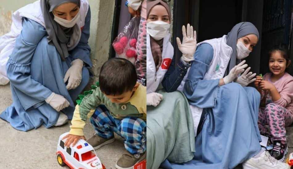 Gamze Özçelik yurt içi yardımlarına koronavirüs önlemi alarak devam ediyor!