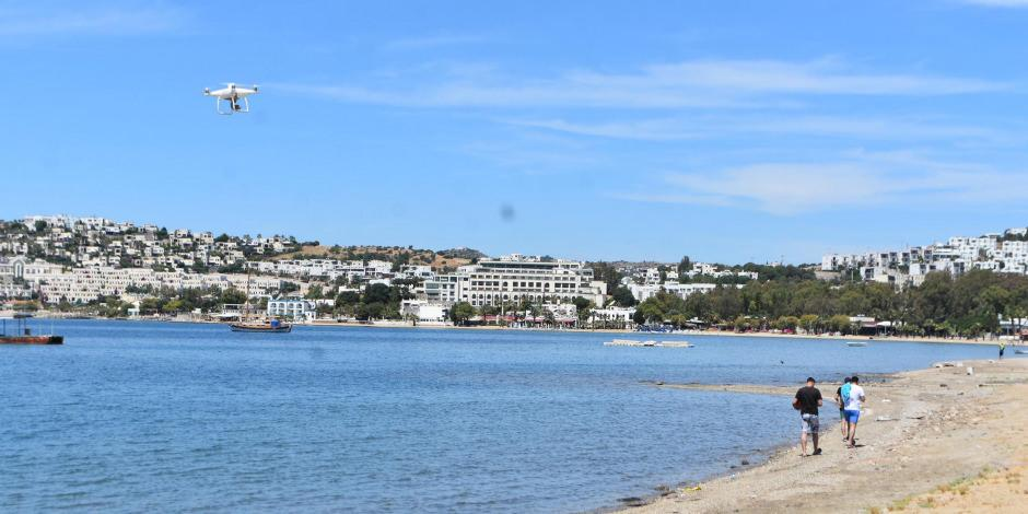 Bodrum sahillerinde dronlu 'kuvars tozu' denetimi