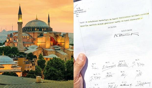 Yusuf Halaçoğlu'ndan çarpıcı Ayasofya açıklaması! Elindeki belgede dikkat çeken Atatürk detayı