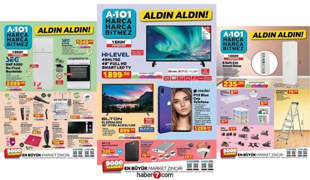 A101 1 Ekim aktüel kataloğu! Bu hafta Buz dolabı, TV, Tencere, Bebek Ürünleri, Raflı dolap...