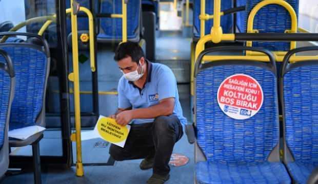 Ankara'da toplu taşıma araçlarında 'sosyal mesafe' uygulaması