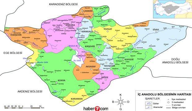 İç Anadolu Bölgesi illeri, haritası, bitki örtüsü, özellikleri, dağları ve yeryüzü şekilleri..