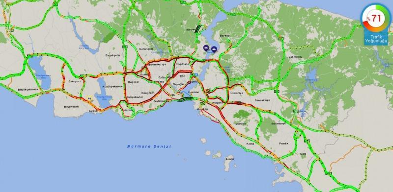 Saat 17.05 itibariyle İstanbul trafiği yüzde 71 doluluk oranına ulaştı.