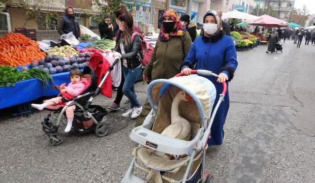 Pazarda şaşırtan görüntü! Bebek arabasının içindeki kaz...