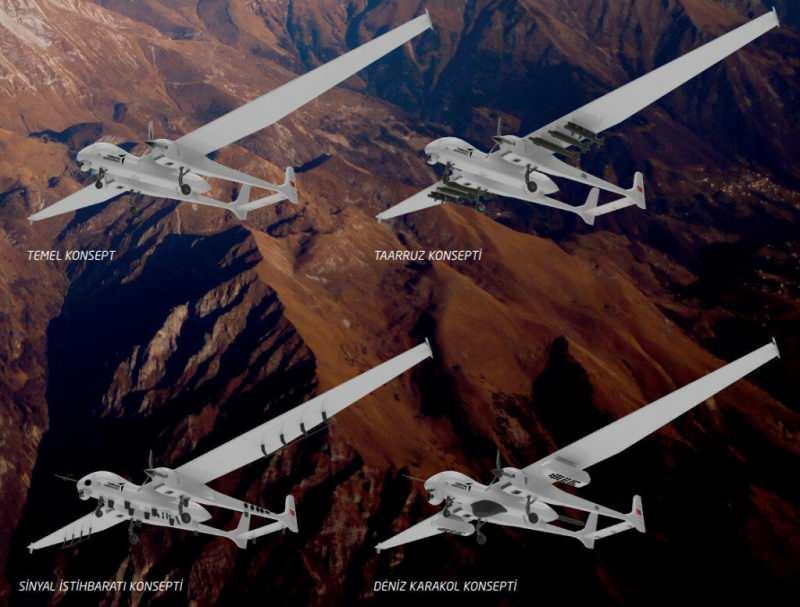 ANKA Aksungur'un Temel, Sinyal İstihbarat, Taaruz ve Deniz Karakol olmak üzere dört adet konsepti de yer alıyor.