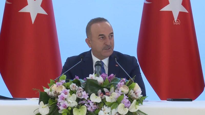 Çavuşoğlu'nun basın toplantısından bir kare