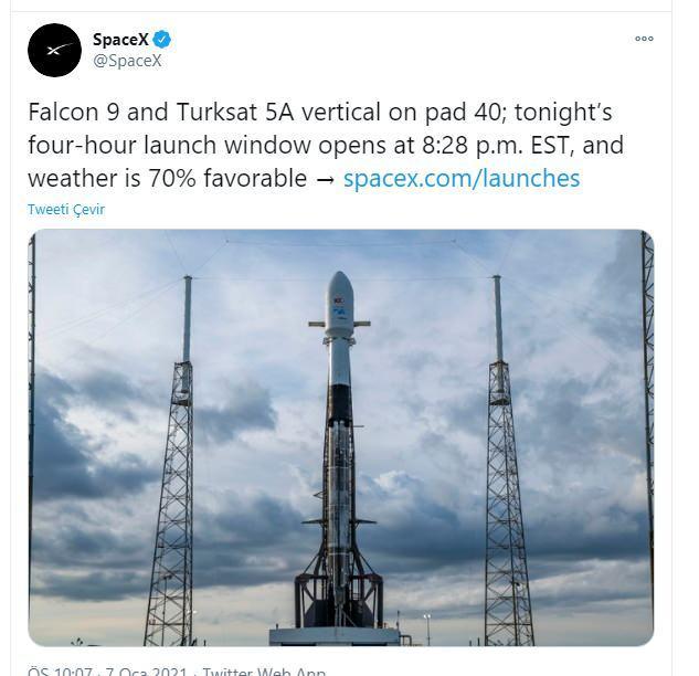 Elon Musk'ın sahibi olduğu Spacex'in paylaşımı