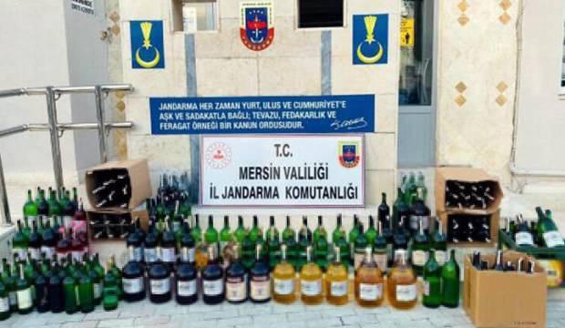 Mersin'de 232 litre satışa hazır sahte içki ele geçirildi