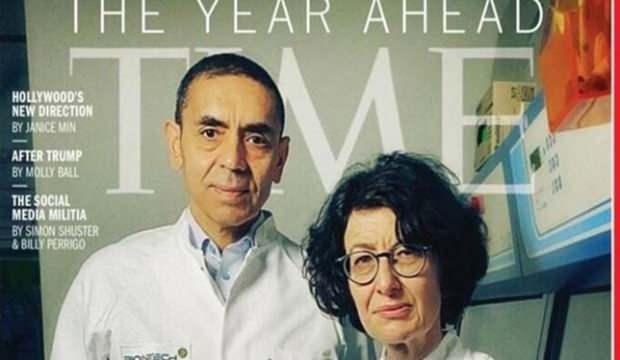Prof. Şahin ve Prof. Türeci Time dergisinin kapağında