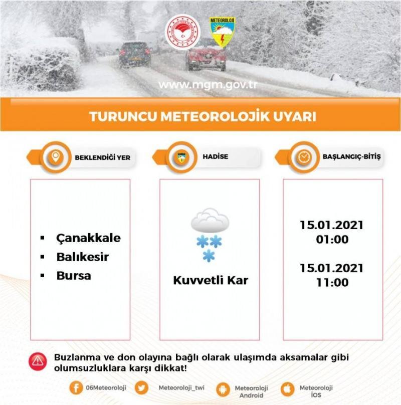 Bursa için kar uyarısı