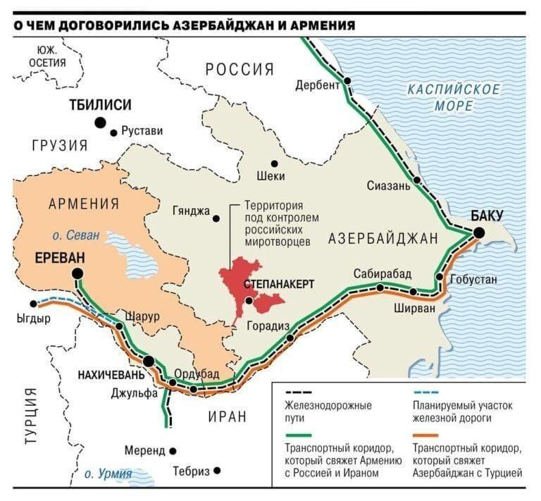 Haritaya göre siyah çizgi demiryolu hatlarını, mavi çizgi planlanan hatları, yeşil çizgi Rusya-Ermenistan-İran bağlantısını, turuncu ise, Azerbaycan-Türkiye bağlantısını gösteriyor.