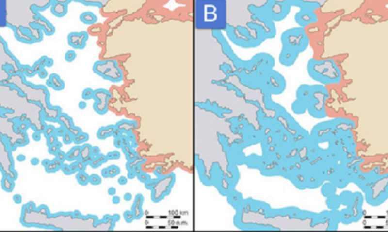 Gazete, Yunan adalarının 6 ve 12 millik karasularının haritasını paylaştı
