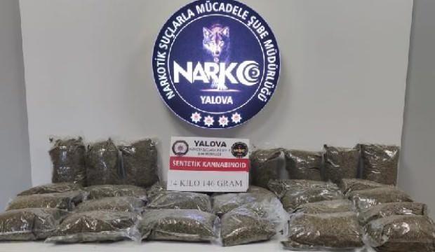 Şüphe üzerine köprü girişinde durdurulan araçta 14 kilo uyuşturucu ele geçirildi