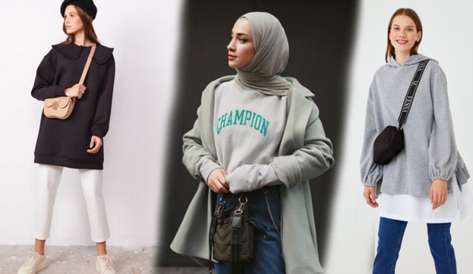 Tesettürde sweatshirt nasıl kombinlenir? 2021 tesettür sweatshirt modelleri