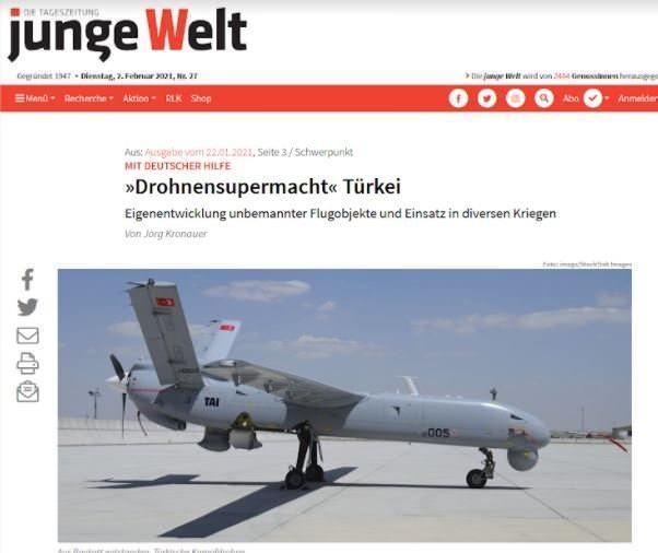 Junge Welt, haberinde Türk SİHA'larına geniş yer ayırdı