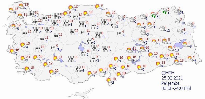 25 Şubat Perşembe hava durumu.