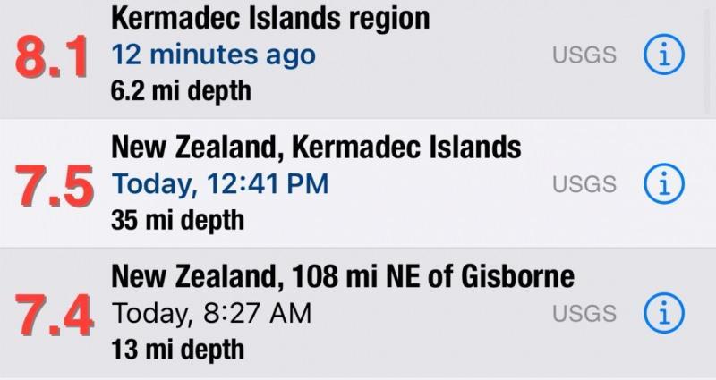 Yeni Zelanda açıklarında 8.0 büyüklüğünde deprem!