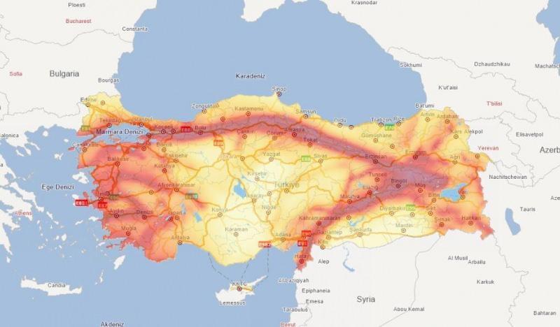 Deprem fay hattı haritası