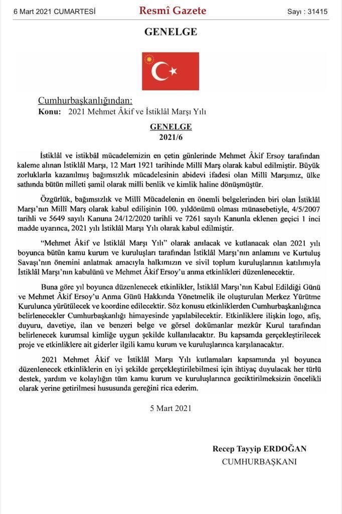 2021 Mehmet Akif ve İstiklâl Marşı Yılı