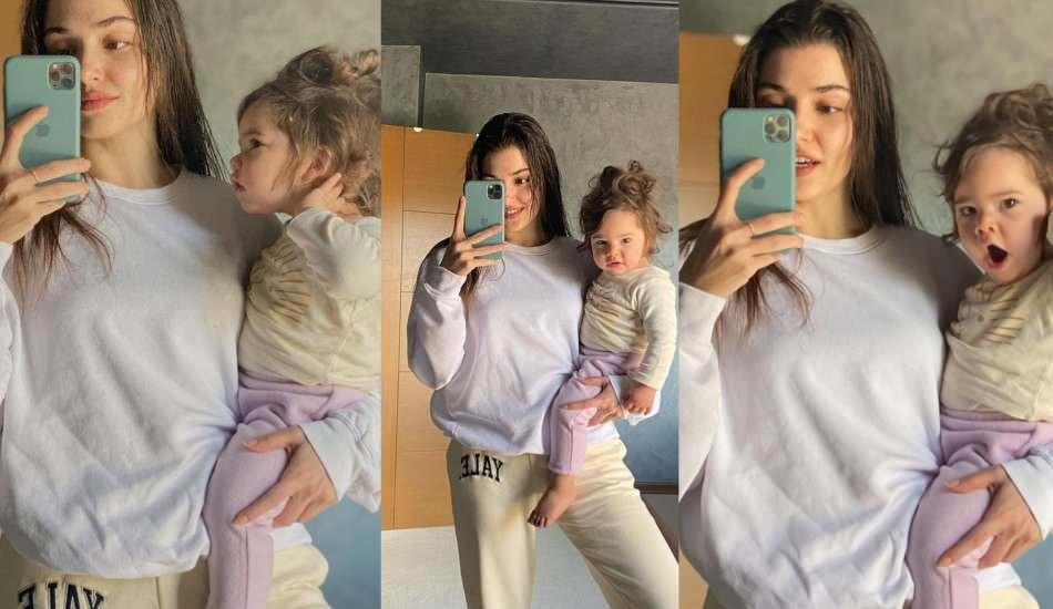Hande Erçel yeğeni Mavi ile sosyal medyayı salladı!
