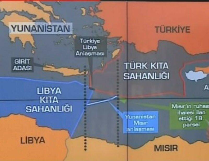 Doğu Akdeniz'de ilan edilen kıta sahanlıkları haritası