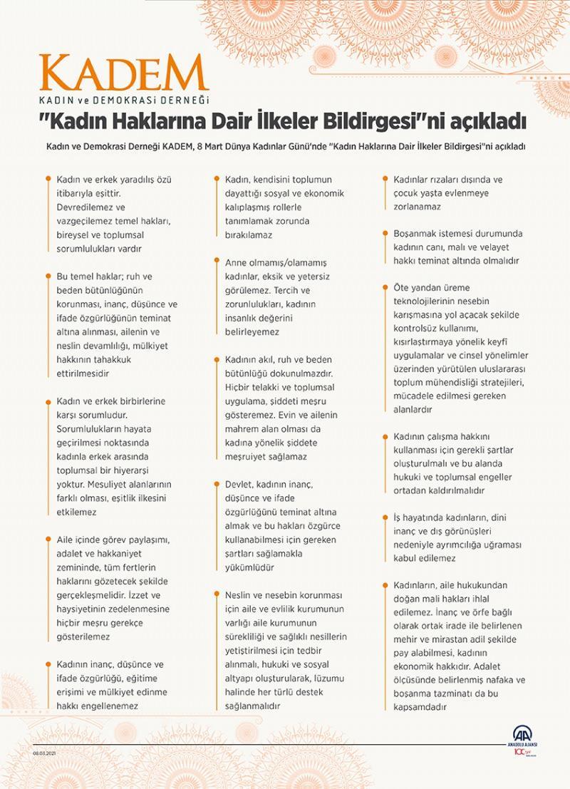 KADEM 'Kadın Haklarına Dair İlkeler Bildirgesi'ni açıkladı
