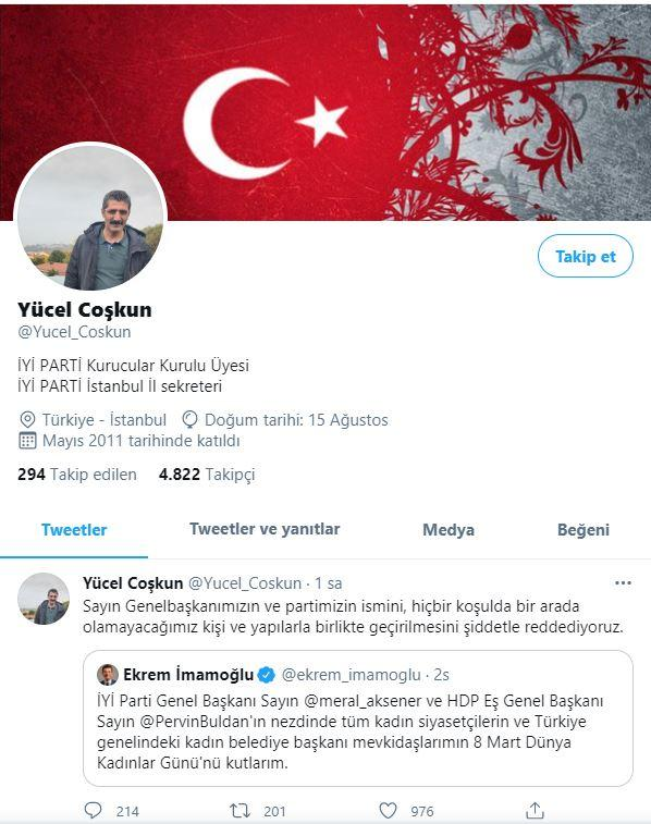 İYİ PARTİ İstanbul İl sekreteri Yücel Coşkun