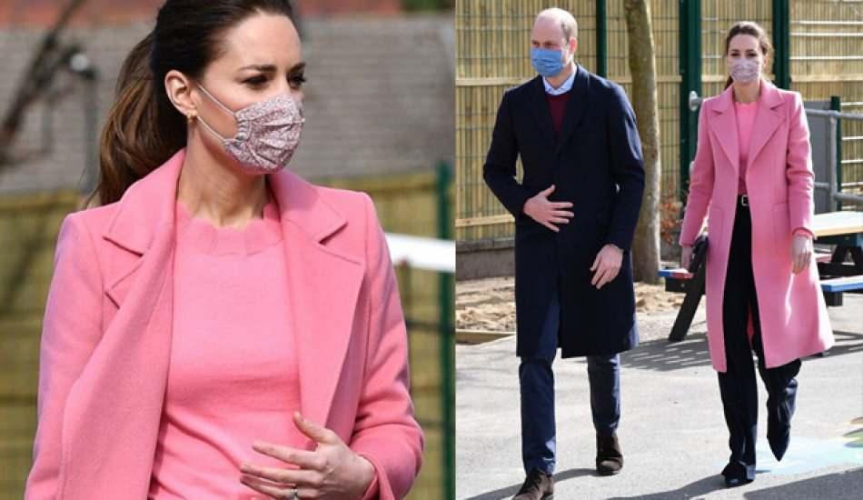 Cambridge Düşesi Kate Middleton'ın şeker pembe kabanıyla verdiği mesaj!