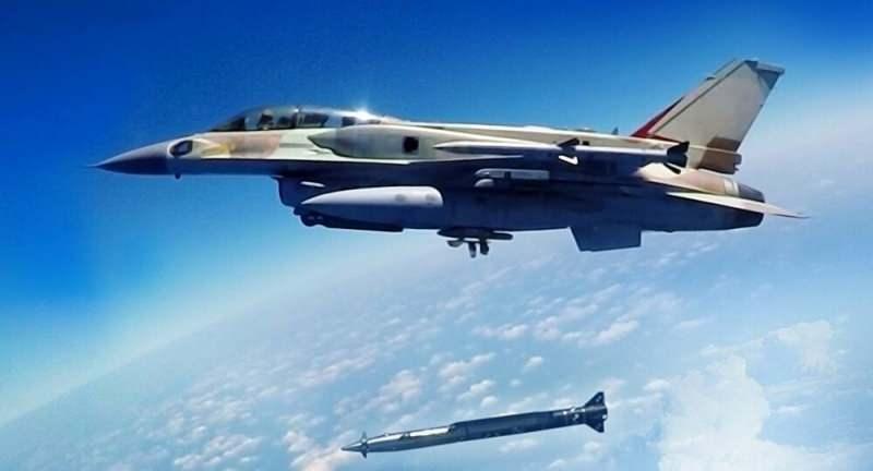 İsrail F-16'sından atılan ve Suriye'de denenen ilk Rampage testine ait görüntü