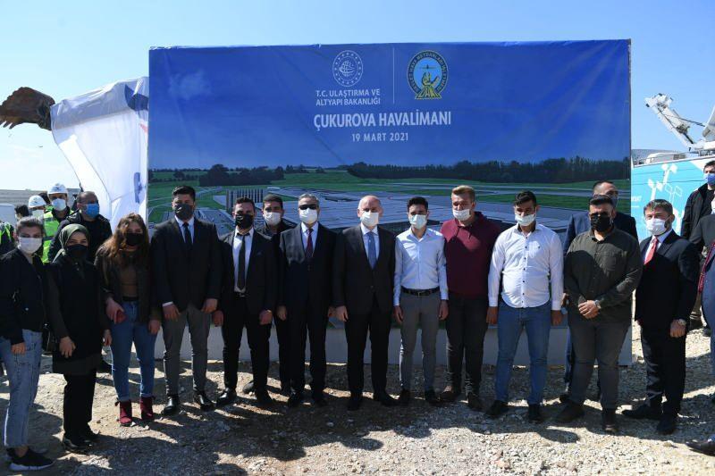 Bakan Karaismailoğlu, Çukurova Havaalanı Şantiyesini ziyaret ederek; brifing aldı.