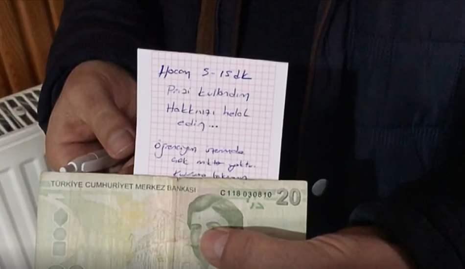 Camide telefonunu şarj eden genç, prizin yanına para ve not bıraktı!