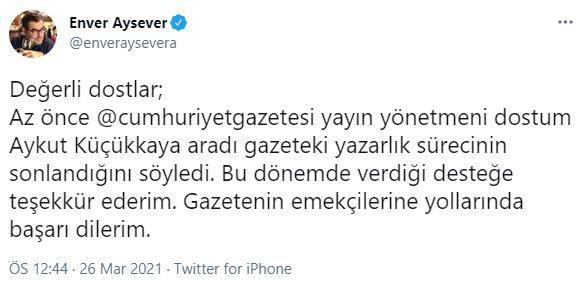 Enver Aysever, kovulma haberlerinin medyada yer almasının üzerine paylaşımına görüntüleme kısıtlaması getirdi.