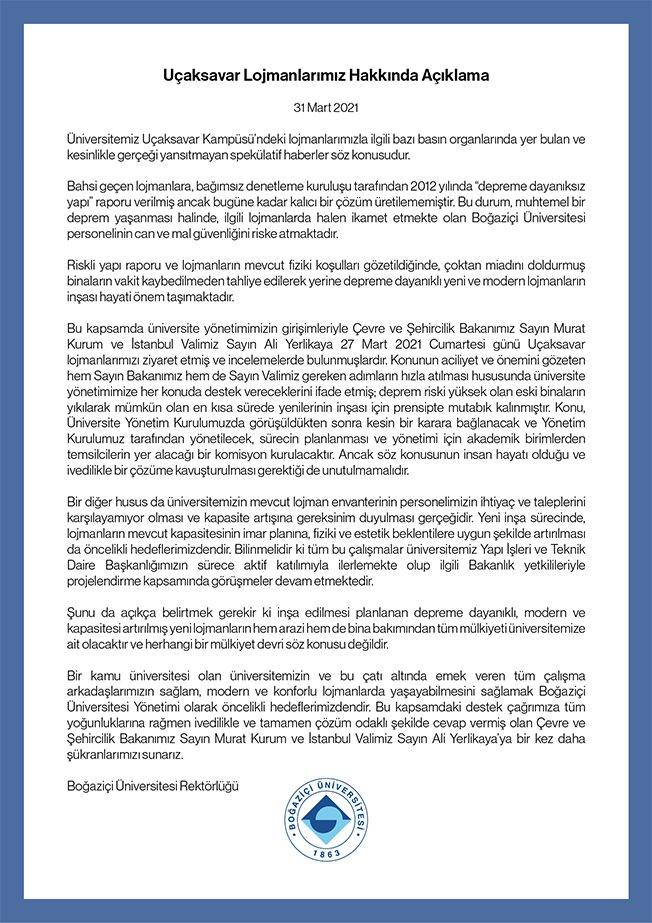 Boğaziçi Üniversitesi Uçaksavar Lojmanları hakkında açıklama