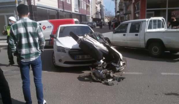 Tekirdağ'da motosiklet ile otomobil çarpıştı