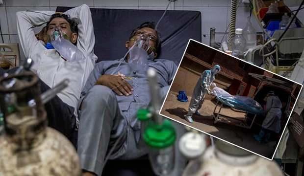 Bir yatakta iki hasta! Hindistan'da günlük vaka rekoru: 217 bin 353